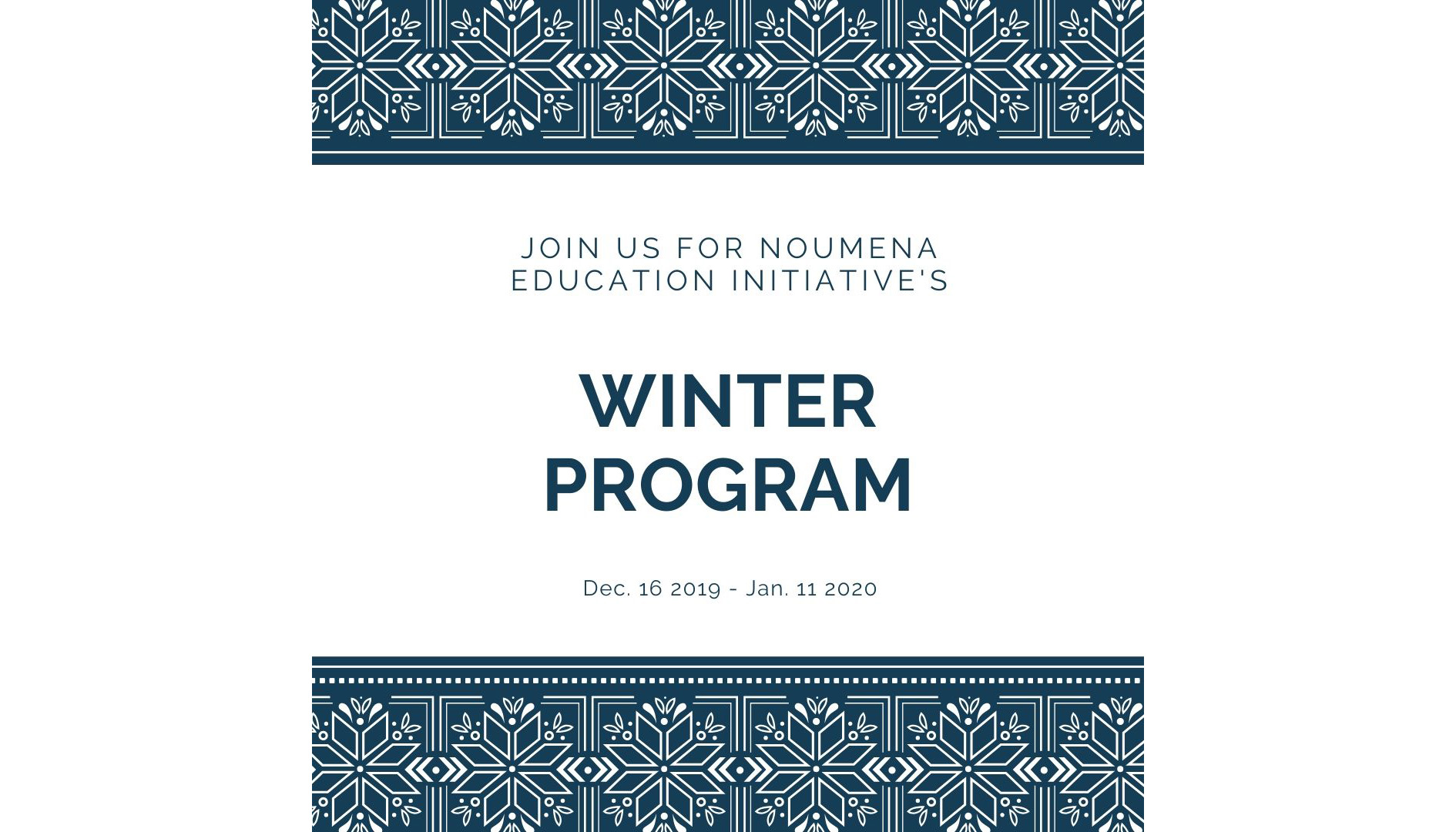 2019 Noumena Winter Session Program
